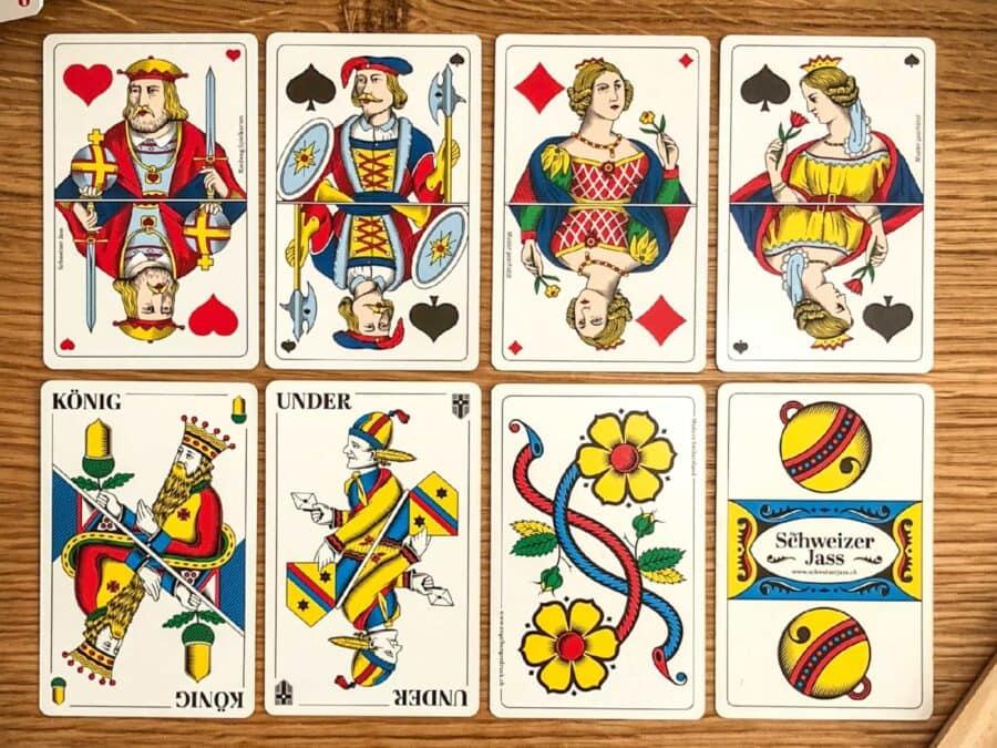 Spielkartenübersicht von Schweizer Jass