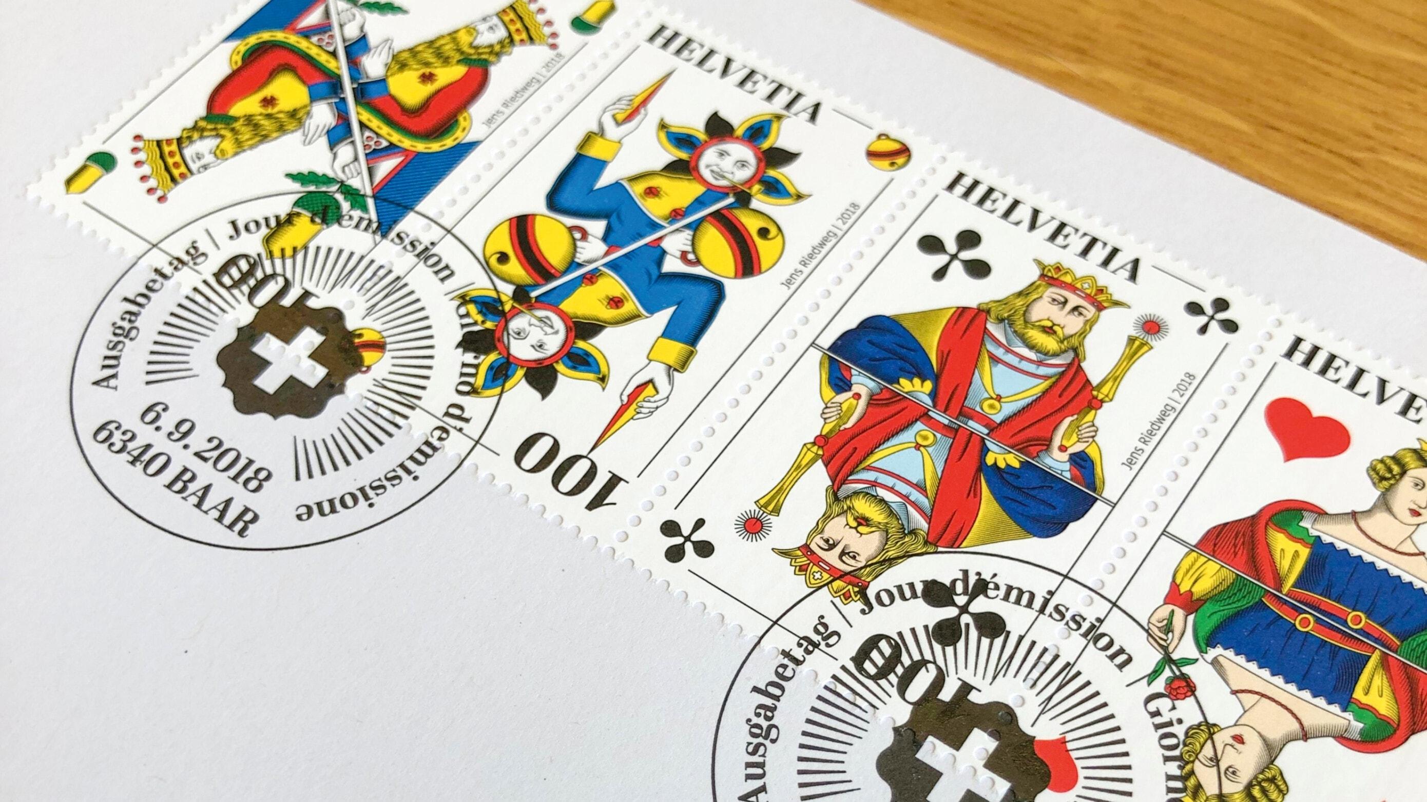 Schweizer Jass Briefmarken mit Stempel