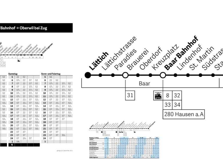 Zugerlande Verkehrsbetriebe Perlschnüre und Fahrplan